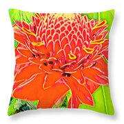 Torch Ginger Aloha Throw Pillow