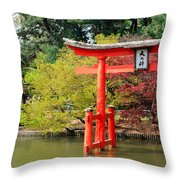Torii And Cherry Blossoms Throw Pillow