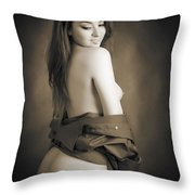 Toriwaits Nude Fine Art Print Photograph In Black And White 5104 Throw Pillow