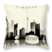 Toronto Black And White Throw Pillow