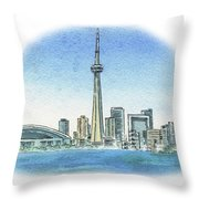 Toronto Canada City Skyline Throw Pillow