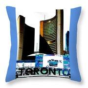 Toronto City Hall Graphic Poster Throw Pillow
