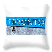Toronto In The Rain Poster In Blue Throw Pillow