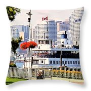 Toronto Island Ferry Arrives Throw Pillow