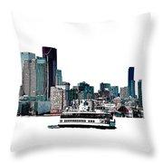 Toronto Portlands Skyline With Island Ferry Throw Pillow