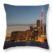 Toronto Skyline At Dusk Throw Pillow