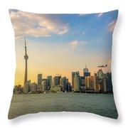 Toronto Skyline At Sunset Throw Pillow