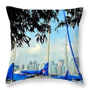 Toronto Through A Forest Of Masts Throw Pillow