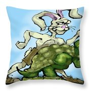 Tortoise And The Hare Throw Pillow