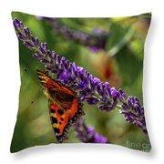 Tortoiseshell Butterfly On Lavender Throw Pillow