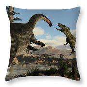 Torvosaurus And Apatosaurus Dinosaurs Fighting - 3d Render Throw Pillow