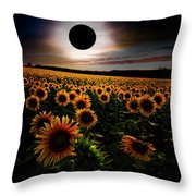Total Eclipse Over The Sunflower Field Throw Pillow