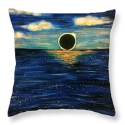 Totality On The Sea - Solar Eclipse  Throw Pillow