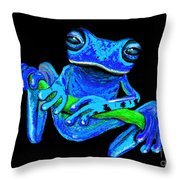 Totally Blue Frog On A Vine Throw Pillow