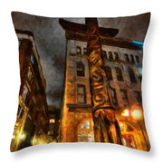 Totem In The City Throw Pillow