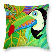 Toucan And Red Eyed Tree Frog Throw Pillow
