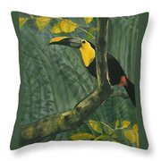 Toucan In Jungle Throw Pillow