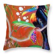 Toucanwine Bird Throw Pillow