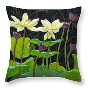Touching Lotus Blooms Throw Pillow