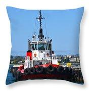 Tough Tugboat Throw Pillow