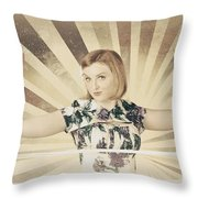 Tough Vintage Boxing Girl Winning Round In Gloves Throw Pillow