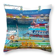 Tour Boats In Port Of Valparaiso-chile Throw Pillow