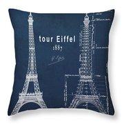 Tour Eiffel Engineering Blueprint Throw Pillow