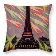 Tour Eiffel Et Ovni Throw Pillow