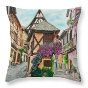 Touring In Eguisheim Throw Pillow