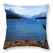 Touring Maligne Lake Throw Pillow