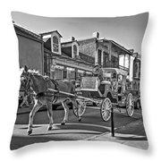Touring The French Quarter Monochrome Throw Pillow