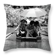 Tourist Boating Thru Tam Coc Bw Throw Pillow