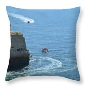 Tourist Boats And Cliffs In Algarve Throw Pillow