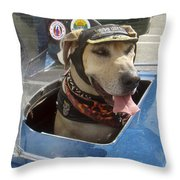 Tourist Dog 2 Square Throw Pillow by Karen Zuk Rosenblatt