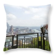 Tourist Looking Through Viewfinder Throw Pillow