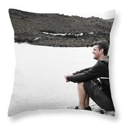 Tourist Seated At Dove Lake Lookout In Tasmania Throw Pillow