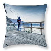 Tourist Taking Picture  Throw Pillow