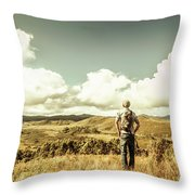 Tourist With Backpack Looking Afar On Mountains Throw Pillow