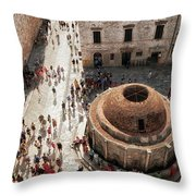Tourists At Dubrovnik's Onofrio's Fountain Throw Pillow