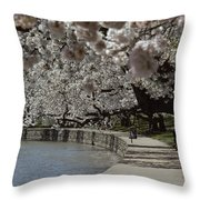 Tourists Enjoy The View At The Tidal Throw Pillow