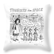 Tourists From Space Throw Pillow