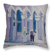 Tourists In Central City Throw Pillow