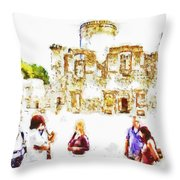 Tourists In The Castle Throw Pillow