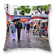 Tourists - Paris - Place Du Tertre Throw Pillow