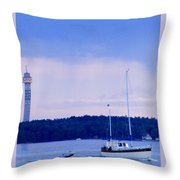 Tower And Masts Throw Pillow