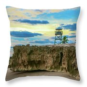 Tower And Rocks Throw Pillow
