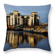 Tower Apartments In A Sunset Throw Pillow