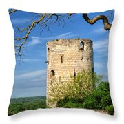 Tower At Chateau De Chinon Throw Pillow