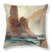 Tower At Tower Falls, Yellowstone Throw Pillow