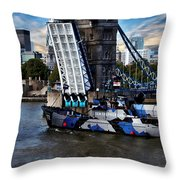 Tower Bridge And Boat Throw Pillow